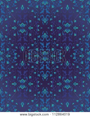 Blue Pattern For Oriental Carpet.