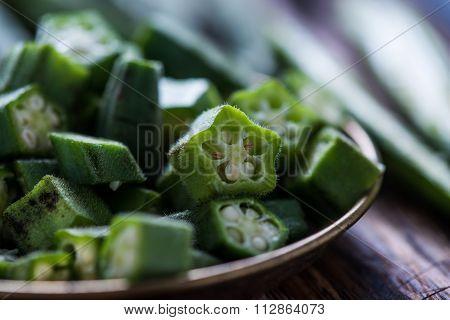 Sliced Fresh Okra