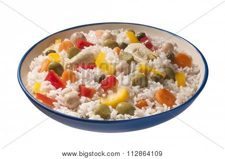 plate of rice with mixed vegetables