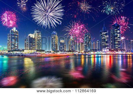 New Year fireworks display in Dubai, UAE