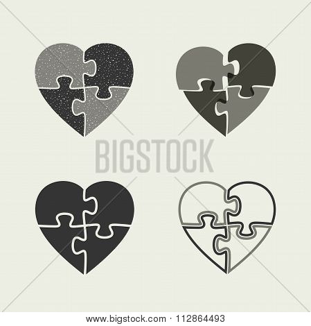 Hearts icons with puzzle.