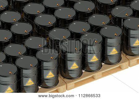 Black Oil Barrels On Pallets
