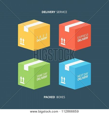 Boxes icons set. Color packed boxes. Carton package box icons.