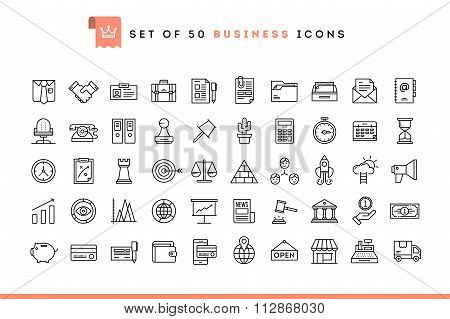 Set Of 50 Business Icons, Thin Line Style