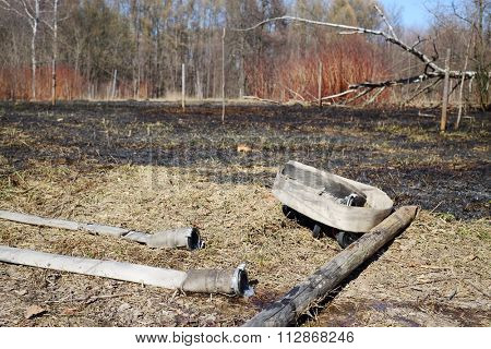 Burned area with two hoses in a park with naked trees.