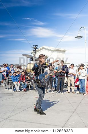 San-francisco-united States, July 13, 2014: Positive Caucasian Male Multiplayer Musician Performing
