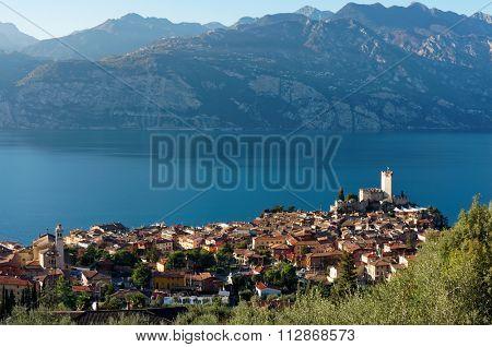 Garda lake and Malcesine town in autumn, Italy