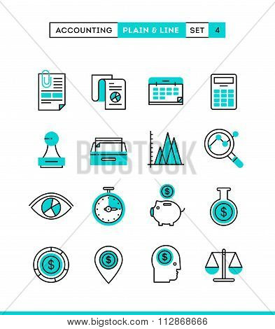 Accounting, Business Statistics, Time And Money Management And More. Plain And Line Icons Set, Flat
