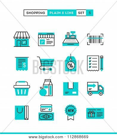 Shopping, Retail, Delivery, Gift Card, Discount And More. Plain And Line Icons Set, Flat Design