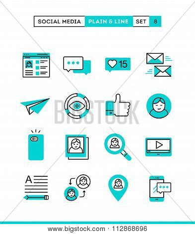 Social Media, Communication, Personal Profile, Online Posting And More. Plain And Line Icons Set, Fl