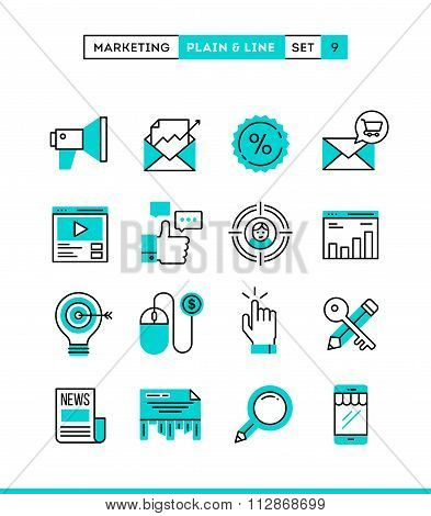 Digital Marketing, Online Business, Target Audience, Pay Per Click And More. Plain And Line Icons Se