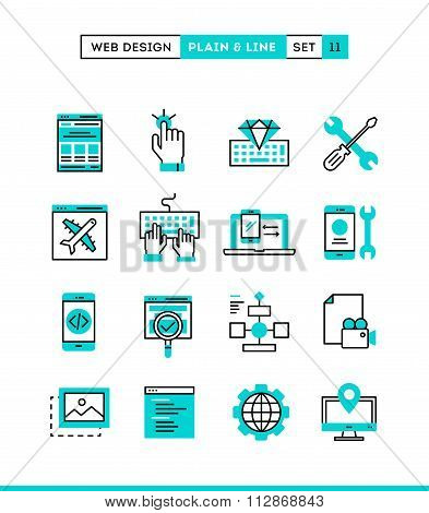 Web Design, Coding, Responsive, App Development And More. Plain And Line Icons Set, Flat Design