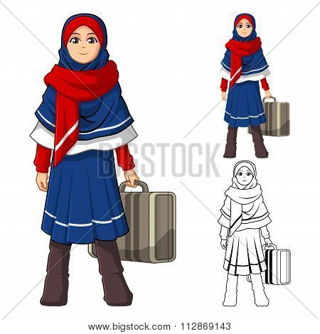Muslim Girl Fashion Wearing Blue Red Veil or Scarf with Holding a Suitcase and Winter Outfit