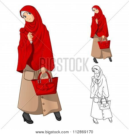 Muslim Woman Fashion Wearing Red Veil or Scarf with Holding a Bag