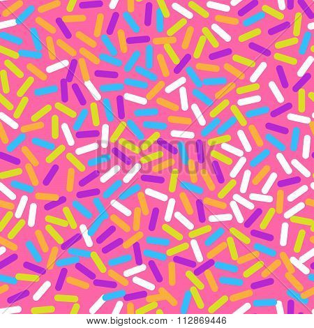 Donut Sweet Glaze Seamless Pattern With Coconut Shavings Topping.