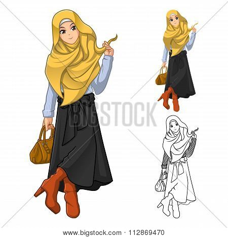 Muslim Woman Fashion Wearing Yellow Veil or Scarf with Holding a Brown Bag and Stylish Outfit