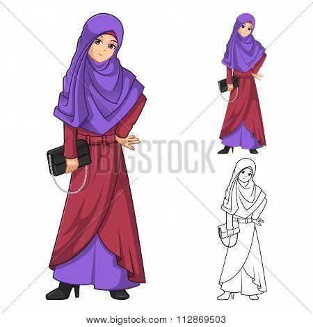 Muslim Woman Fashion Wearing Purple Veil or Scarf with Holding a Black Handbag