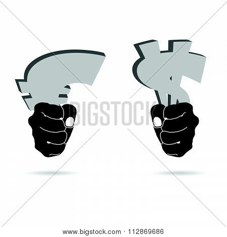 Euro And Dollar Vector In Hand