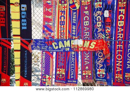 Fc Barcelona Scarves At An Unofficial Street Shop