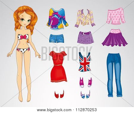 Paper Red Hair Bright Doll