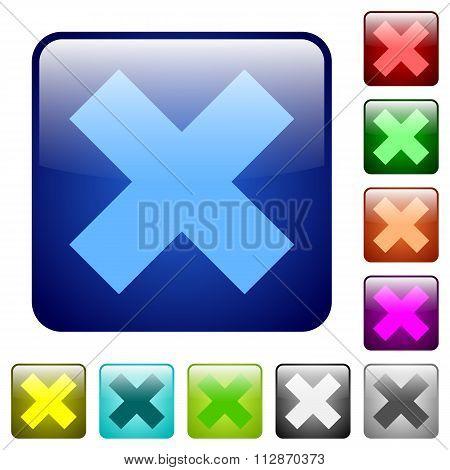 Color Cancel Square Buttons