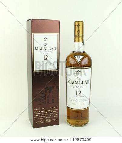 Bottle Of Macallan !2 Year Old Scotch Whisky And Box.