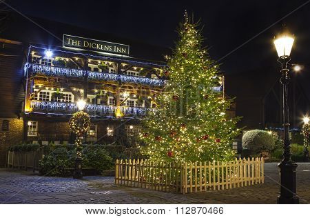 The Dickens Inn Public House In London At Christmas