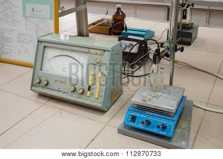 RUSSIA, MOSCOW - 12 SEP, 2015: Laboratory with equipment in D. Mendeleyev University of Chemical Technology.