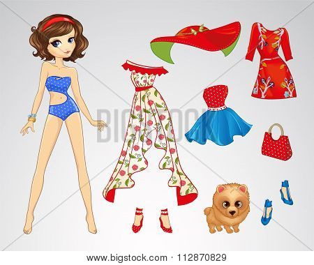 Paper Brunette Retro Doll