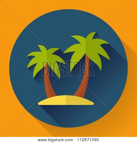palm Island. Travel Icon. Flat designed style.