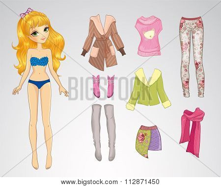 Paper Cute Blonde Winter Doll