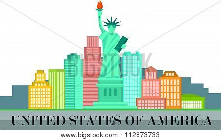 New York City and United States of America concept vector illustration