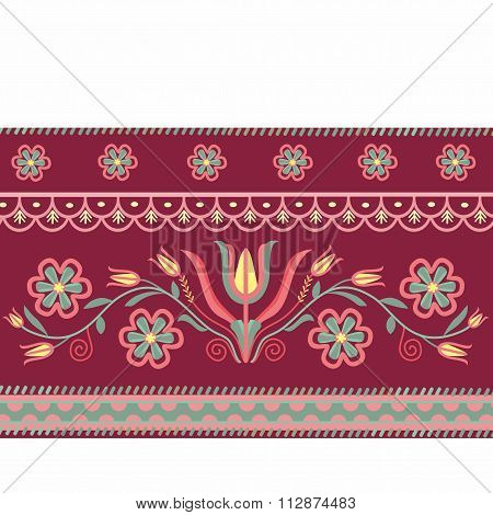 pattern folk with flowers burgundy