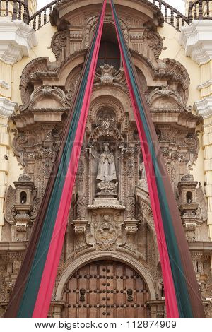 Entrance Detail Of Monastery Of San Francisco In Lima, Peru