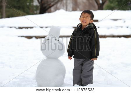 Japanese boy and snowman (4 years old)