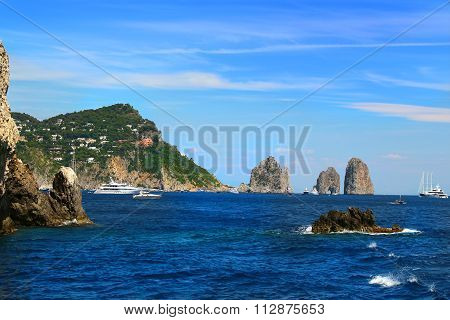 Capri And Faraglioni Rocks