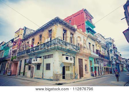 View of colorful buildings in old Havana street