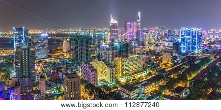 Panorama impressive beauty Saigon by night