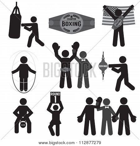 Black Symbol Boxing Icon Set.