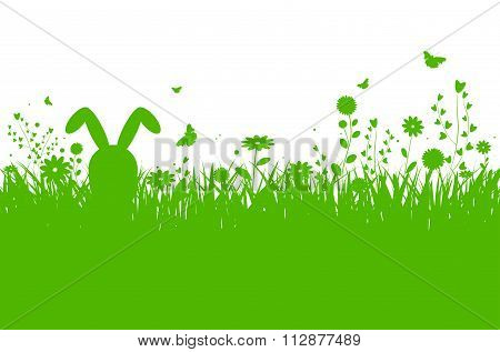 Spring Silhouette Illustration With Abstract Grass, Flowers And Bunny