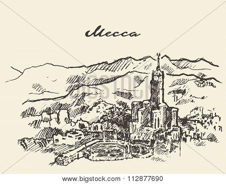 Mecca Saudi Arabia skyline vector drawn sketch