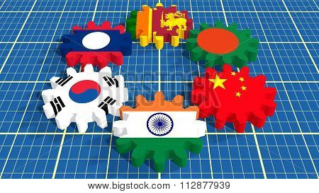 Asia-pacific Trade Agreement Members Flags On Gears