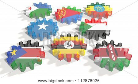 Intergovernmental Authority Development Members National Flags On Gears