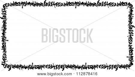 Rectangular Frame Black Graffiti Tag Pattern On White