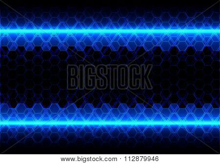 Abstract Hexagon Blue Light Effect Technology