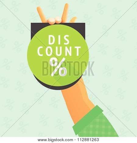 discount percent sign circle green label hand fingers hold placard