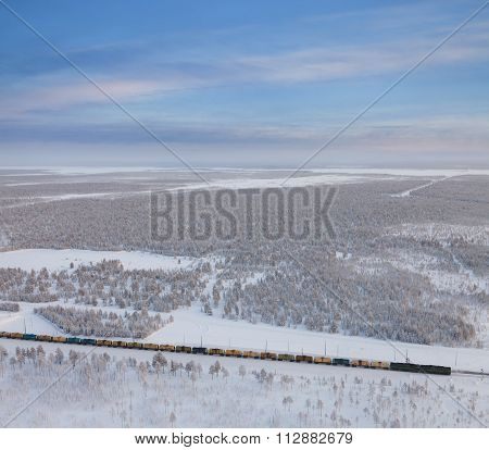 Railway With Freight Train In Winter, Top View