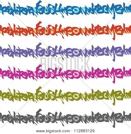 Graffiti Seamless Tag Patterns In Multiple Color
