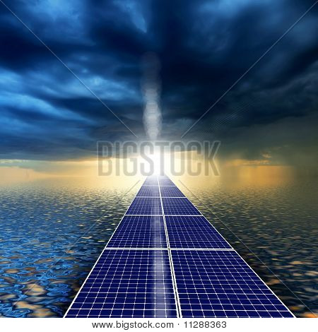 road from the solar panels