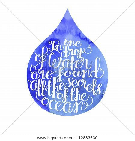 Graphic ocean quote in a water drop